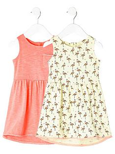 river-island-mini-girls-flamingo-high-low-dress-two-pack