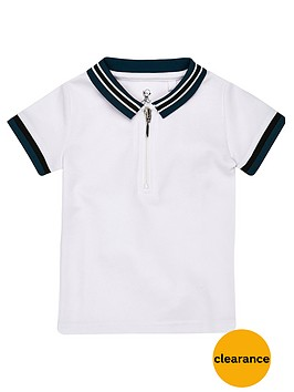 river-island-mini-boys-white-tipped-zip-polo-shirt