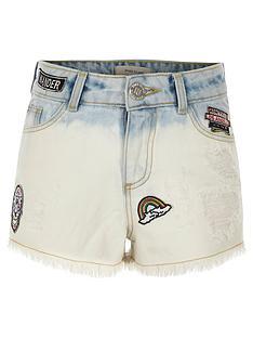 river-island-girls-blue-dip-dye-badged-denim-shorts