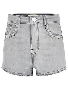 river-island-girls-grey-studded-high-waisted-denim-shorts