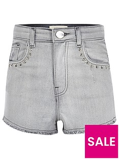 river-island-girls-grey-studded-high-waisted-denim-shorts
