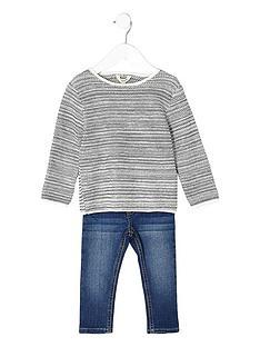 river-island-mini-mini-boys-grey-jumper-and-blue-jean-set