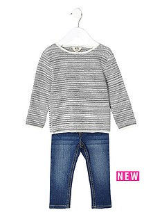 river-island-mini-mini-boys-grey-jumper-and-blue-jean-set