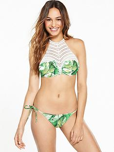 v-by-very-palm-print-crochet-high-neck-bikini-set