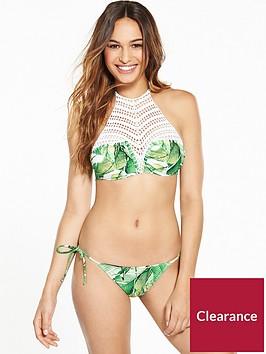 v-by-very-palm-print-crochet-high-neck-bikini-set