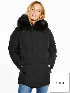 v-by-very-petite-premium-faux-fur-collar-padded-coat-black