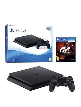 playstation-4-slim-500gb-black-console-with-gt-sport-plus-optional-extra-controller-andor-12-months-playstation-network