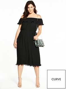 v-by-very-curve-bardot-pleat-midi-dress