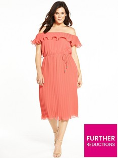 v-by-very-curve-bardot-pleat-midi-dress-coral