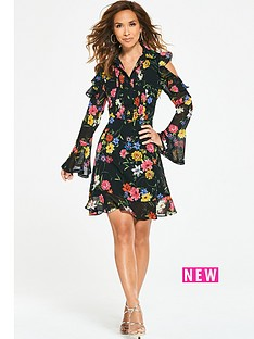 myleene-klass-ruffle-shoulder-tea-dress