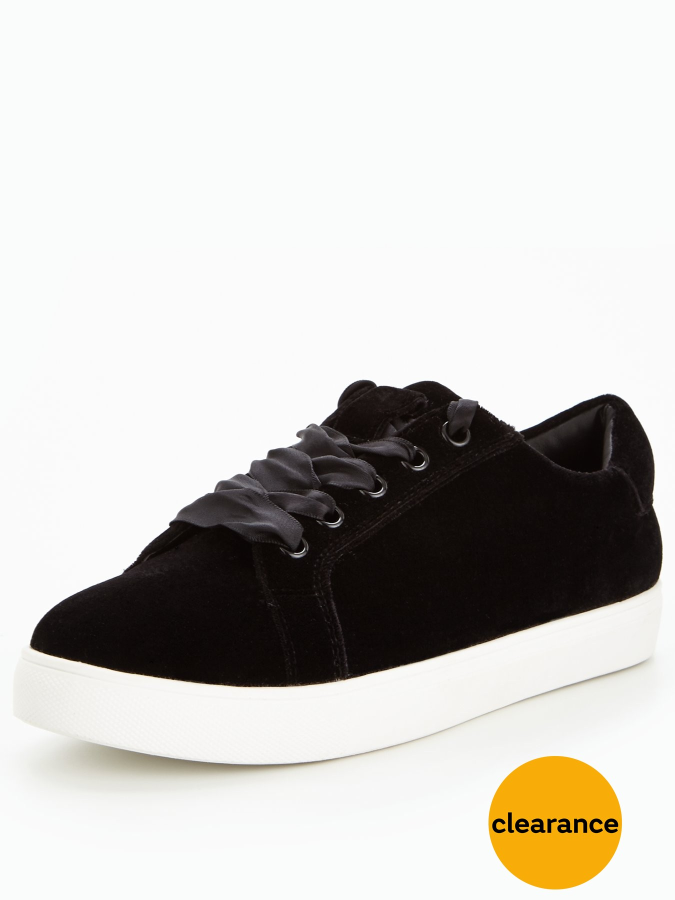 V by Very Flash Velvet Trainer Black 1600156218 Women's Shoes V by Very Trainers