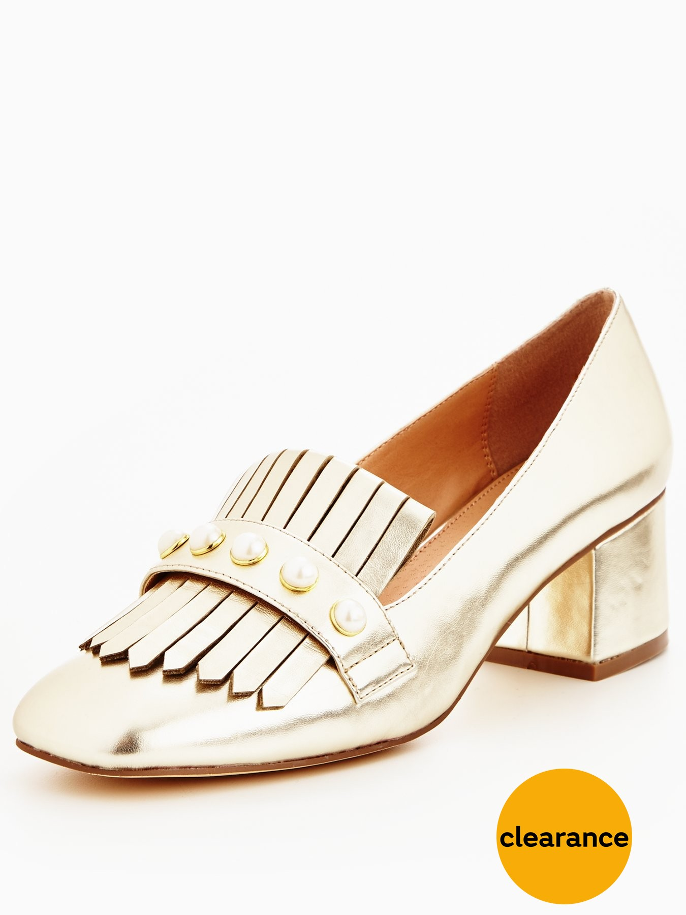 Discount V by Very Natalie Pearl Detail Heeled Gold Loafers for Women On Sale