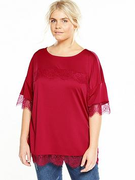 Photo of V by very curve lace sleeve t-shirt - raspberry