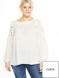 v-by-very-curve-cold-shoulder-ruffle-blouse-ivory