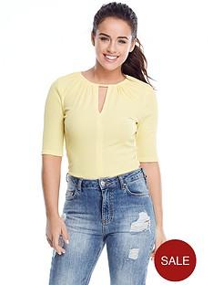 v-by-very-petite-rib-keyhole-bodysuit-yellow