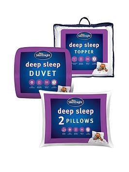 Silentnight Deep Sleep 13.5 Tog Duvet, Pillow Pair And Mattress Topper Bundle