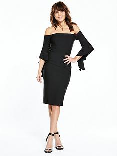 river-island-river-island-black-frill-sleeve-bodycon-bardot-dress