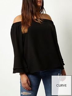 ri-plus-trumpet-sleeve-bardot-top