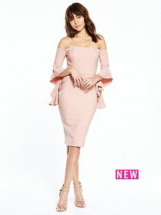 river-island-nude-frill-sleeve-dress