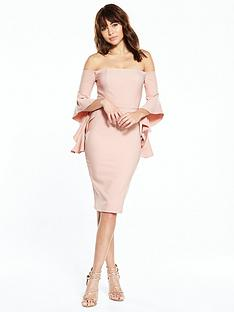 river-island-river-island-nude-frill-sleeve-bodycon-bardot-dress
