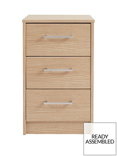 Barlow Ready Assembled 3 Drawer Bedside Chest