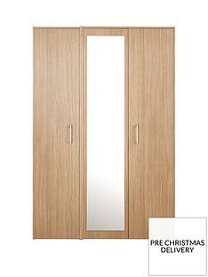 Barlow Part Assembled 3 Door Mirrored Wardrobe