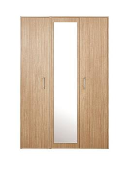 Barlow Part Assembled 3 Door Mirrored Wardrobe