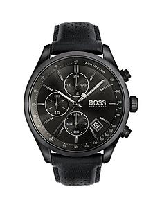 mens watches mens smart watches very co uk hugo boss black hugo boss black grand prix black chronograph dial black leather strap mens watch