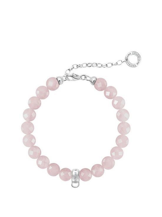 7d210736731 Thomas Sabo Sterling Silver Charm Club Rose Quartz Adjustable Charm  Bracelet 19cm