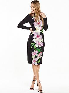 wallis-dotty-orchid-print-jersey-dress-black