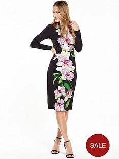 wallis-dotty-orchid-print-jersey-dress-black