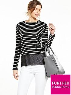 v-by-very-pleated-hem-stripe-jersey-top