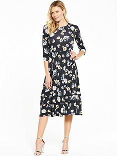 v-by-very-floral-three-quarter-sleeve-midi-dress