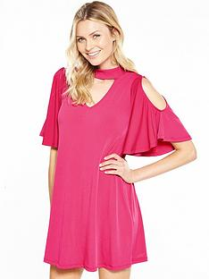 v-by-very-choker-fluted-sleeve-dress