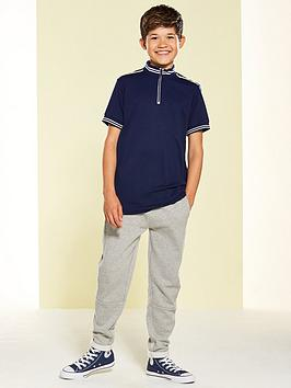 v-by-very-pique-high-collar-zip-front-polo-nvy
