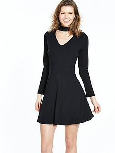 v-by-very-choker-rib-skater-jersey-dress-blacknbsp