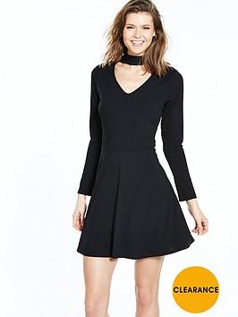 v-by-very-choker-rib-skater-jersey-dress-blacknbsp