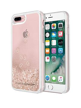 Rebecca Minkoff Stylish Liquid Glitterfall Protective Case For Iphone 7 Plus - Rose Gold Peace Signs