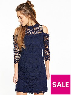 v-by-very-petite-cold-shoulder-lace-dress-navy