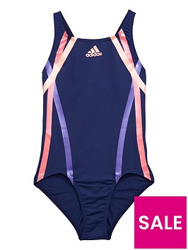 adidas-adidas-older-girls-coloured-stripe-swimsuit