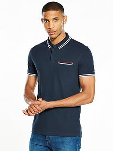 v-by-very-ss-rib-pocket-pique-polo