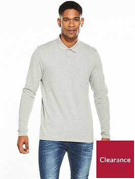 v-by-very-long-sleeve-pique-polo-marl-grey