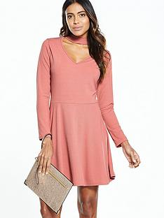 v-by-very-choker-rib-skater-jersey-dress-pinknbsp