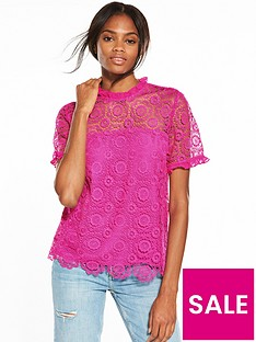 v-by-very-lace-ruffle-trim-blouse