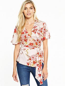 V By Very Angel Sleeve Wrap Blouse