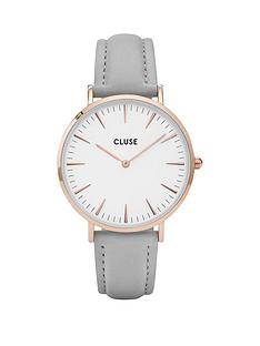 cluse-cluse-la-boheme-white-dial-rose-tone-case-grey-strap-watch