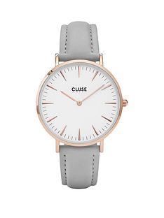 cluse-la-boheme-white-dial-rose-tone-case-grey-strap-watch