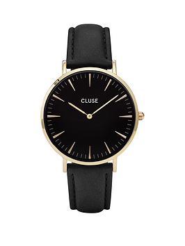 cluse-cluse-la-boheme-black-dial-rose-tone-case-black-strap-watch