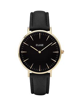 cluse-la-boheme-black-dial-gold-tone-case-black-strap-watch