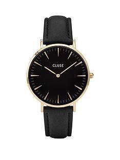 cluse-la-boheme-black-dial-rose-tone-case-grey-strap-watch